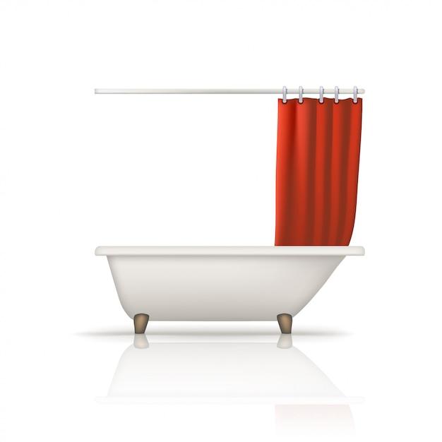 Badewanne roter vorhang Premium Vektoren
