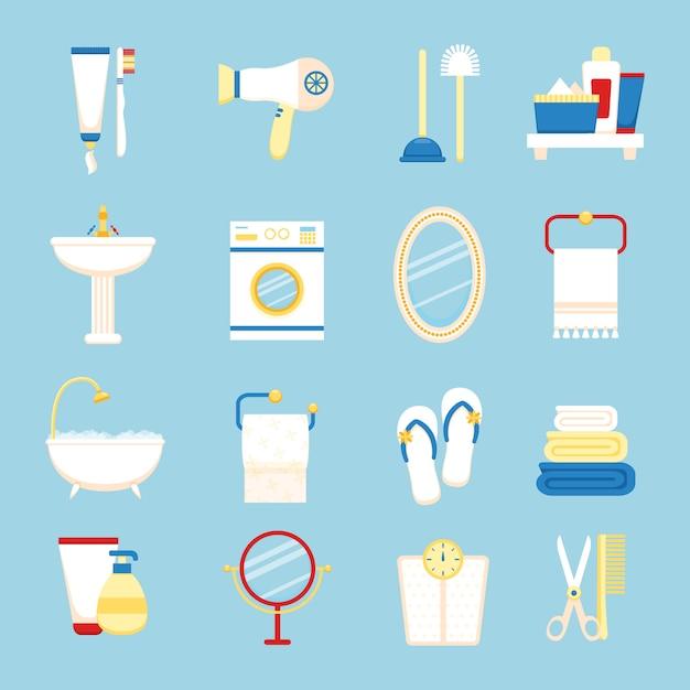 Badezimmer-icon-set Premium Vektoren