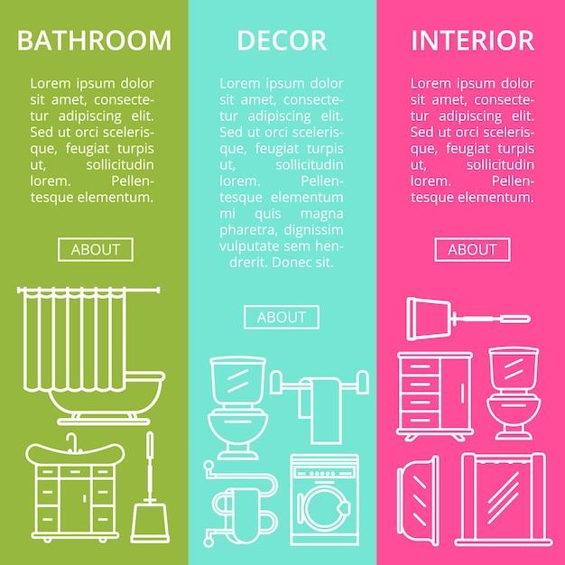 Badezimmer interieur flyer in linearen stil gesetzt Premium Vektoren