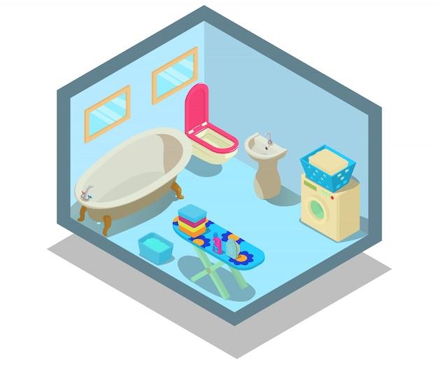 Badezimmer-konzeptszene Premium Vektoren