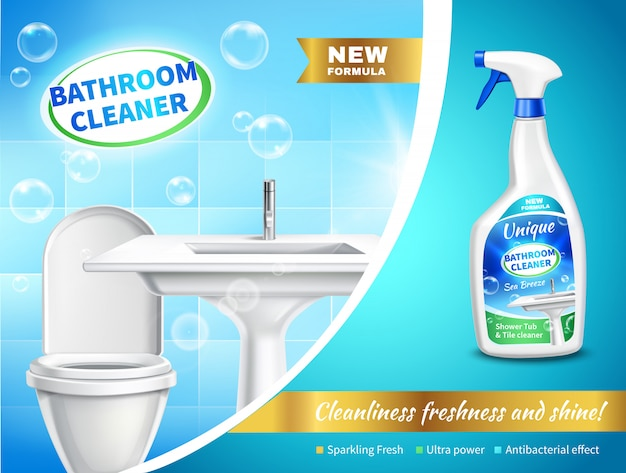 Badezimmer-reiniger-werbungs-zusammensetzung Kostenlosen Vektoren