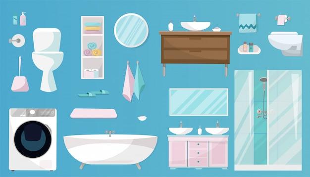 Badezimmer-set mit möbeln, toilettenartikeln, sanitäranlagen, ausrüstungen und hygieneartikeln für das badezimmer. sanitär-set isoliert Premium Vektoren
