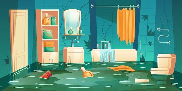 Badezimmer überschwemmte illustration Kostenlosen Vektoren