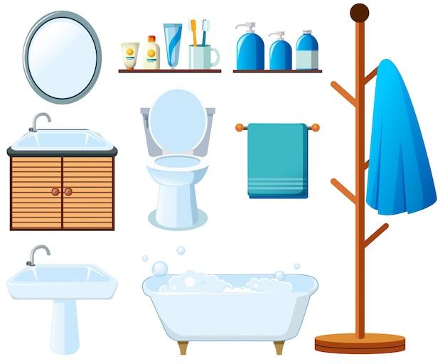 Badezimmerausrüstung auf weißem Hintergrund Kostenlose Vektoren