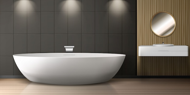 Badezimmerausstattung mit badewanne, waschbecken und rundem spiegel Kostenlosen Vektoren