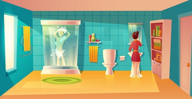 Badezimmerinnenraum mit paaren in der morgenhygiene. kombiniertes zimmer mit möbeln. mann in der dusche Kostenlosen Vektoren