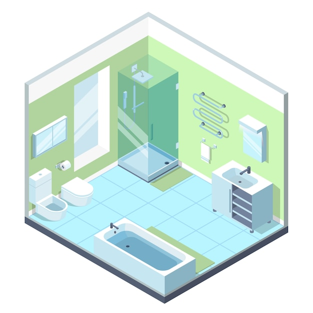 Badezimmerinnenraum mit verschiedenen möbelelementen. Premium Vektoren