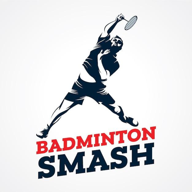 Badminton-vektor-logo, erstklassiger schattenbild-vektor Premium Vektoren