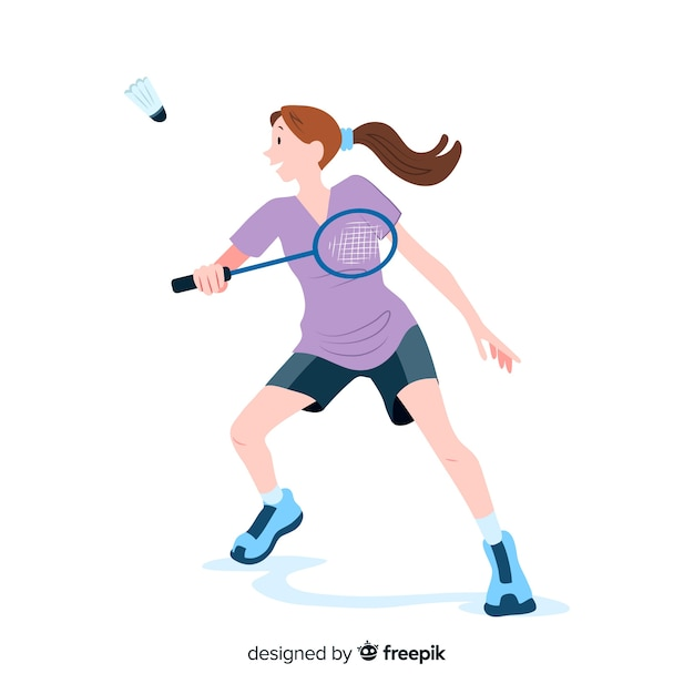 Badmintonspieler mit schläger und feder Kostenlosen Vektoren