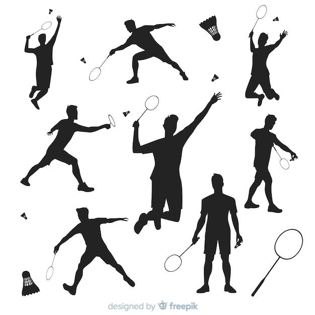 Badmintonspieler-schattenbildsammlung Kostenlosen Vektoren