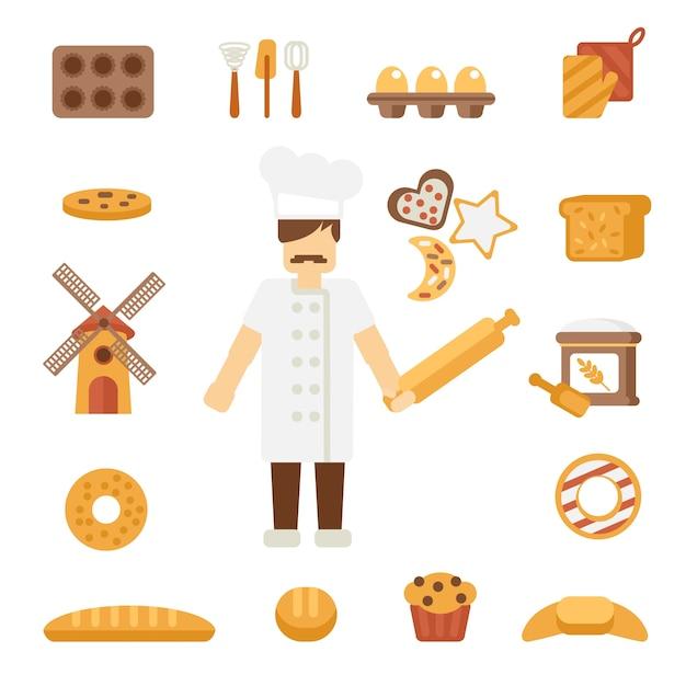Bäcker-ikonen flach Kostenlosen Vektoren