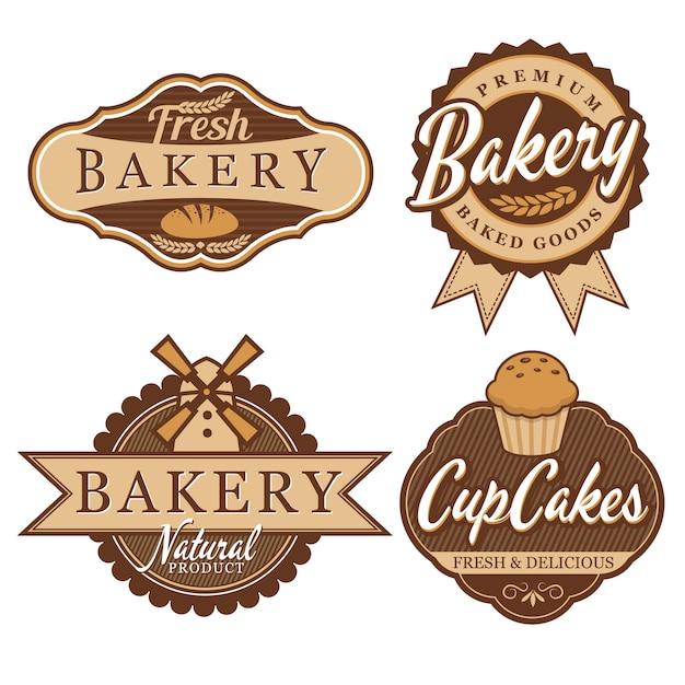 Bäckerei-abzeichen & etiketten Premium Vektoren