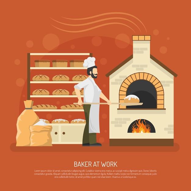 Bäckerei-arbeit-illustration Kostenlosen Vektoren