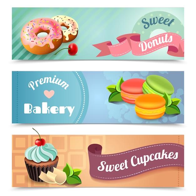 Bäckerei-banner eingestellt Kostenlosen Vektoren
