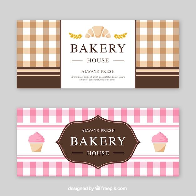 Bäckerei banner in flachen stil Kostenlosen Vektoren