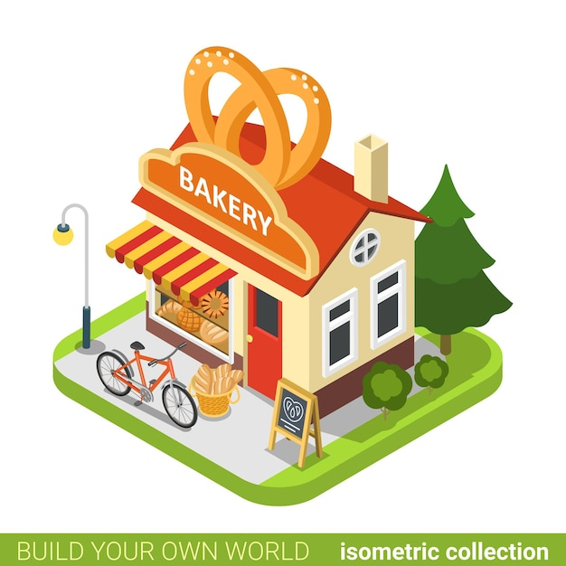 Bäckerei brezeln prägen gebäude cafe restaurant immobilien immobilienkonzept. Premium Vektoren