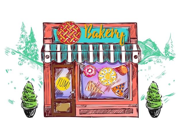 Bäckerei cafe windows zusammensetzung Kostenlosen Vektoren