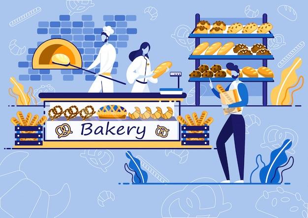 Bäckerei, chef backen brot, kunden kaufen Premium Vektoren