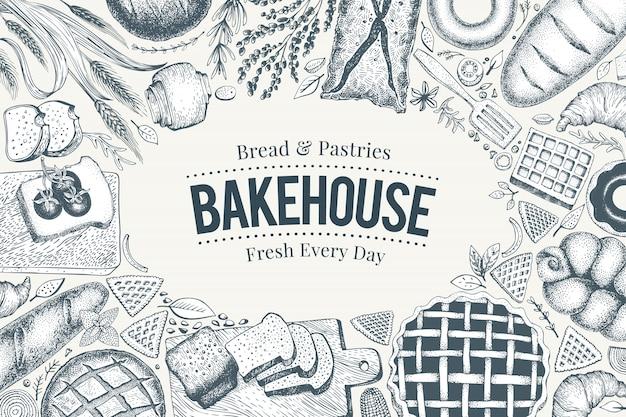 Bäckerei-draufsichtrahmen. hand gezeichnete vektorillustration mit brot und gebäck. Premium Vektoren