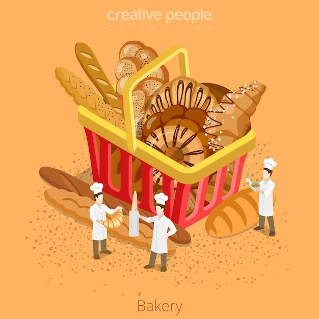 Bäckerei frisches korbgebäckkonzept. isometrie isometrische website icon set illustration. Premium Vektoren