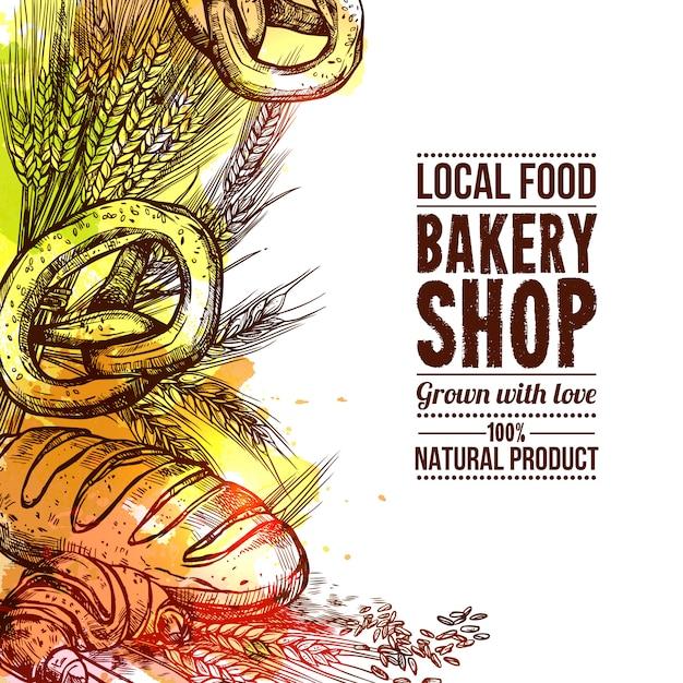 Bäckerei hand gezeichnete illustration Kostenlosen Vektoren