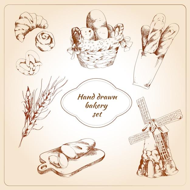 Bäckerei hand gezeichnete set Kostenlosen Vektoren