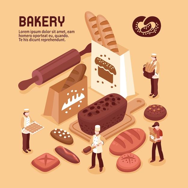 Bäckerei isometrische konzept Kostenlosen Vektoren