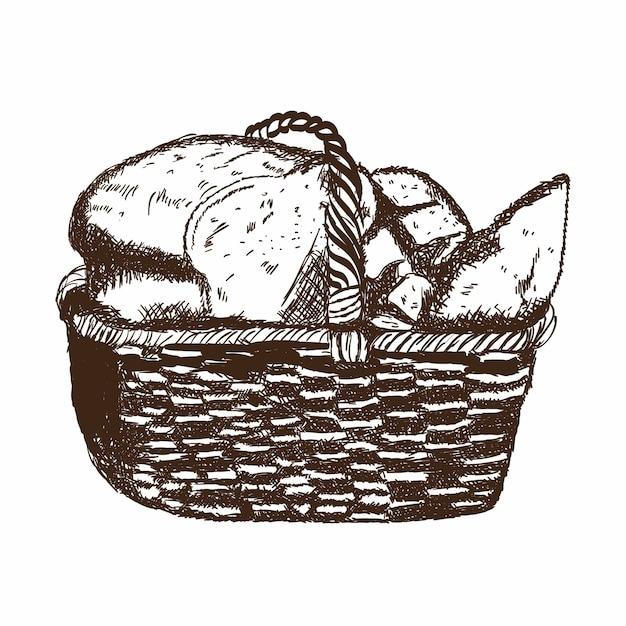 Bäckerei-korb Premium Vektoren