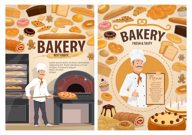 Bäckerei kuchen, bäcker konditorei gebäck menü Premium Vektoren