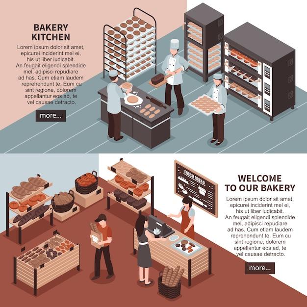 Bäckerei-küche und bäckerei-speicher-isometrische fahnen Kostenlosen Vektoren