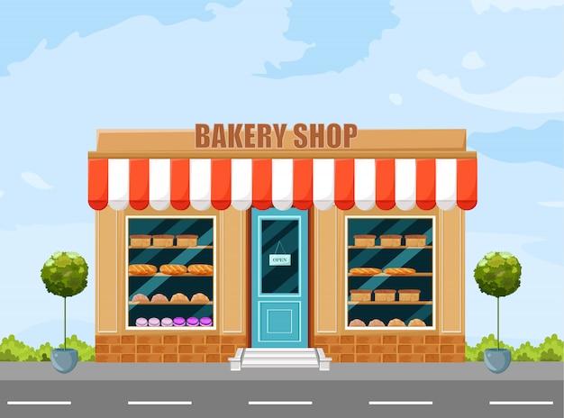 Bäckerei ladenfassade Premium Vektoren