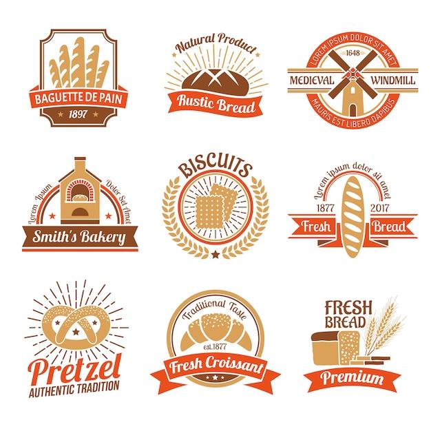 Bäckerei logo emblem set Kostenlosen Vektoren