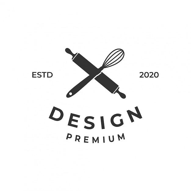 Bäckerei-logo-konzept mit schneebesen und nudelholz. Premium Vektoren