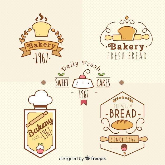 Bäckerei-logo-sammlung Kostenlosen Vektoren