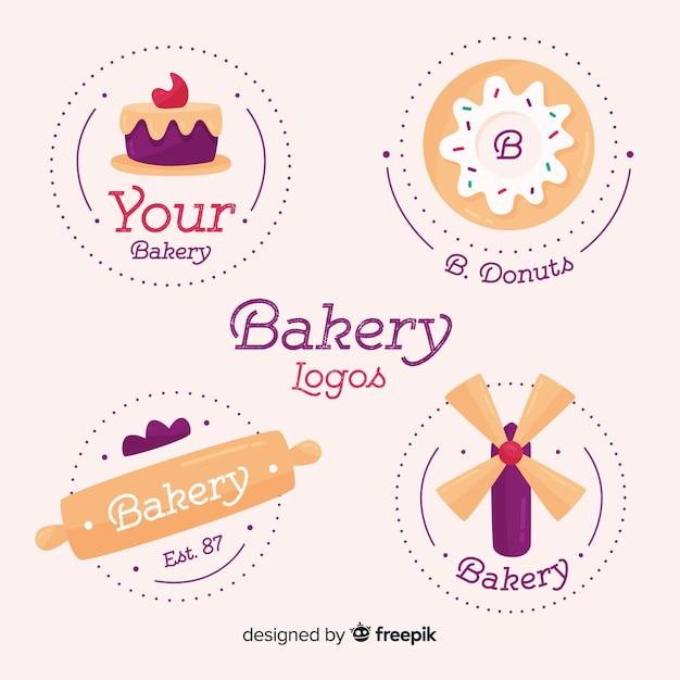Bäckerei-logosammlung Kostenlosen Vektoren