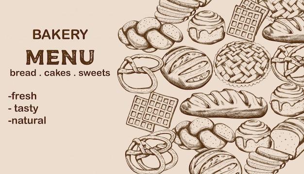 Bäckerei-menü mit brot, kuchen, süßigkeiten und platz für text Kostenlosen Vektoren