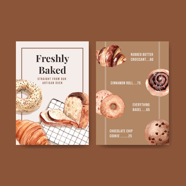 Bäckerei-menüvorlagen Kostenlosen Vektoren