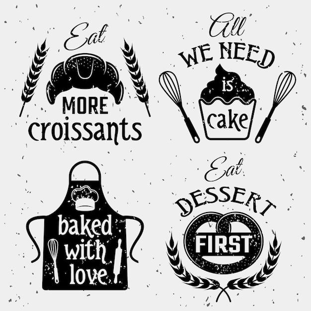 Bäckerei mit zitaten monochrom-set Kostenlosen Vektoren