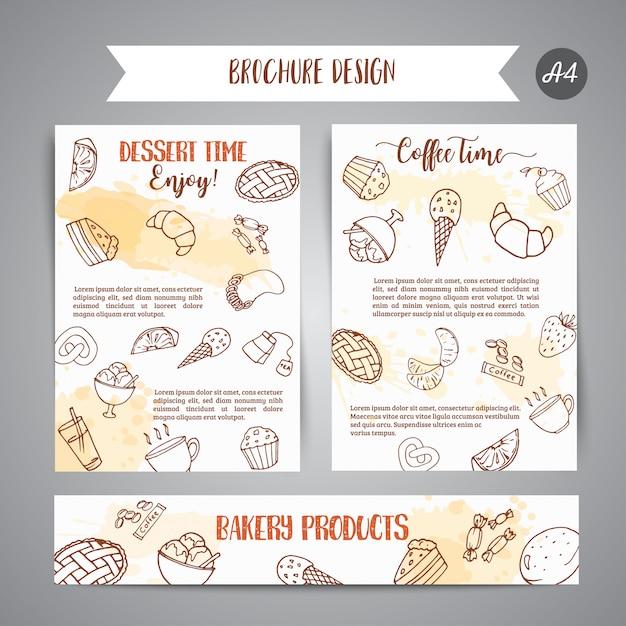 Bäckerei-plakatschablone mit gebäck. Premium Vektoren
