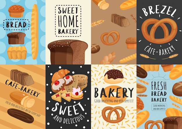 Bäckerei poster und banner eingestellt Kostenlosen Vektoren