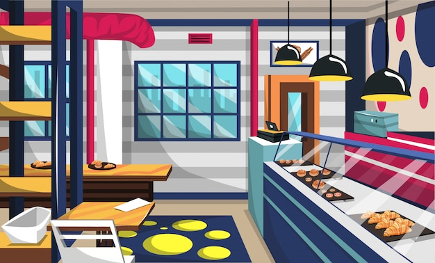 Bäckerei-shop-innenraum mit kuchen an der schaufenster Premium Vektoren