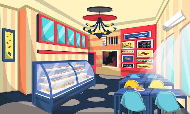 Bäckerei-shop-raum-design mit kuchen an der schaufenster Premium Vektoren