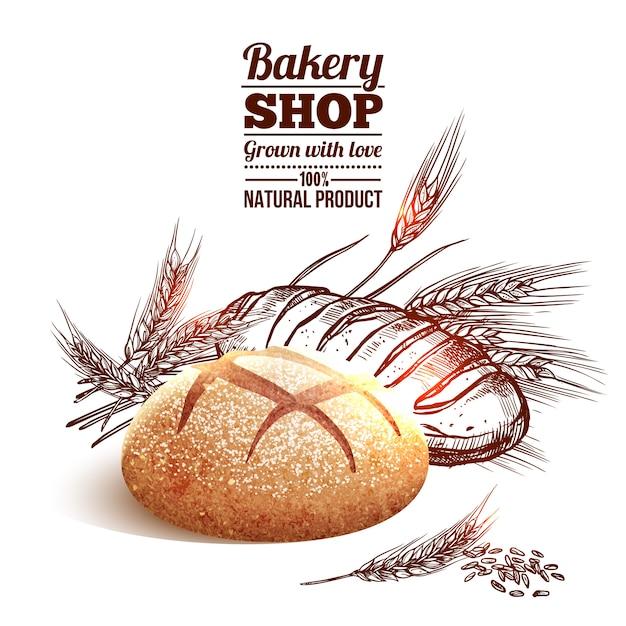 Bäckerei-skizzen-konzept Kostenlosen Vektoren