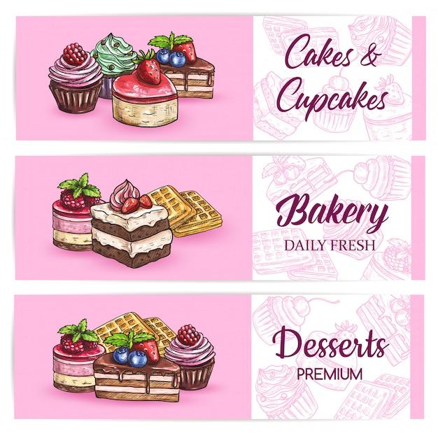 Bäckerei süßigkeiten und desserts banner Premium Vektoren