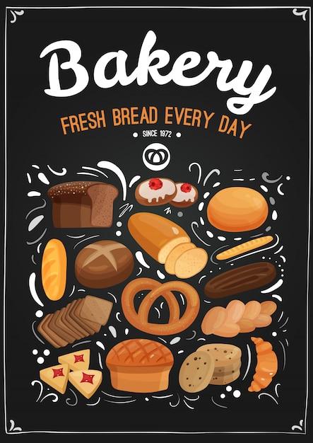 Bäckerei tafel illustration Kostenlosen Vektoren