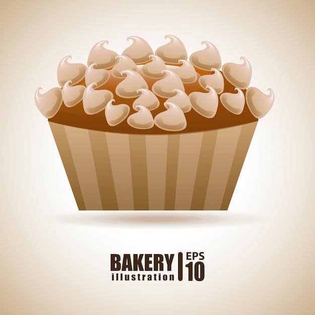 Bäckerei über beige illustration Kostenlosen Vektoren