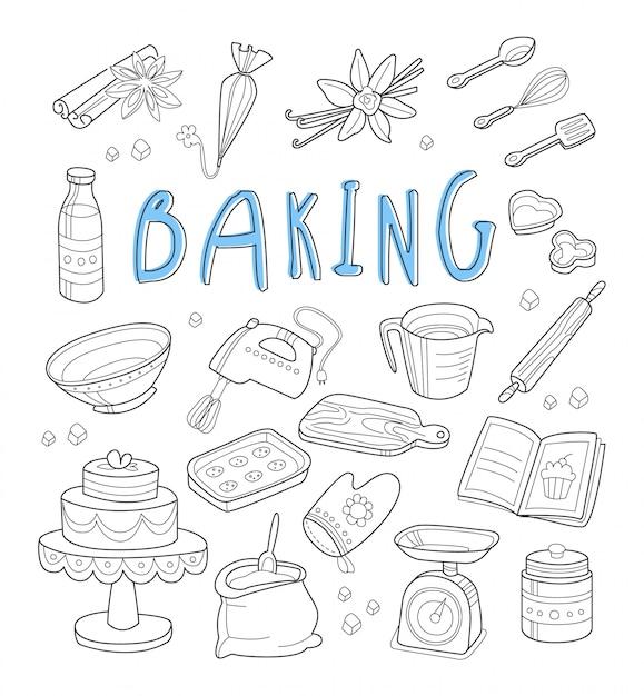 Bäckerei und dessert kritzeleien. handgemalt Premium Vektoren