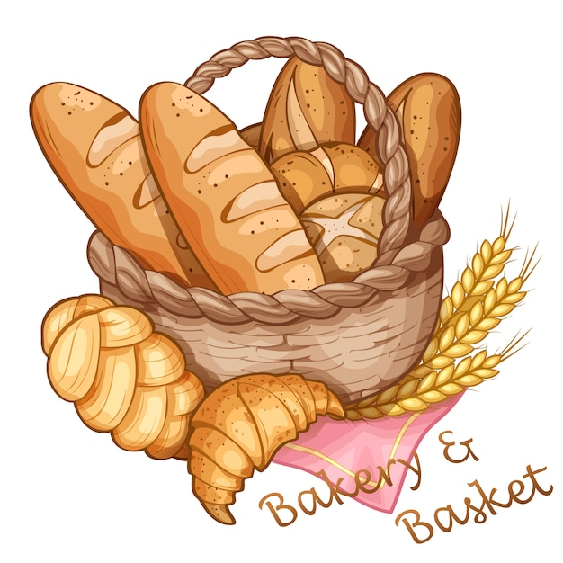 Bäckerei und korbhandabgehobener betrag, vektorabbildung Premium Vektoren