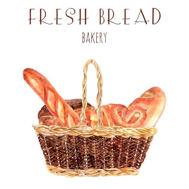Bäckereibrot-anzeigenplakat mit runden runden laibs und stangenbrot des weinlesekorb-vollweizens Kostenlosen Vektoren