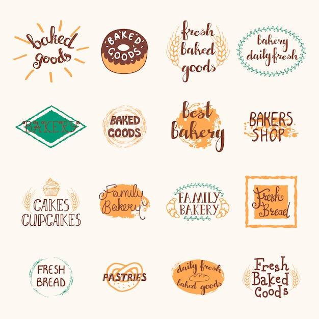 Bäckereietiketten eingestellt mit logos und emblemen im retrostil Kostenlosen Vektoren